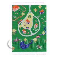 Dolls House Miniature Small Childrens Rug With Country Play Scene