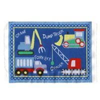 Dolls House Miniature Small Childrens Rug With Construction Theme