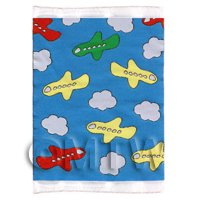 Dolls House Miniature Small Childrens Rug Airplanes And Clouds