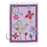 Dolls House Miniature Small Childrens Rug With Big Butterflys