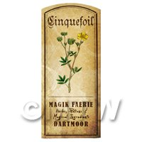 Dolls House Herbalist/Apothecary Cinquefoil Herb Short Colour Label