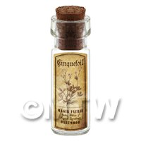 Dolls House Apothecary Cinquefoil Herb Short Sepia Label And Bottle