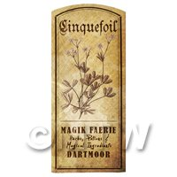 Dolls House Herbalist/Apothecary Cinquefoil Herb Short Sepia Label