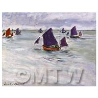 Claude Monet Painting Fishing Boats Off Pourville