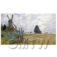 Claude Monet Painting Windmill And Boats Near Zaandam