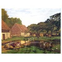 Claude Monet Painting Farm Near Honfleur