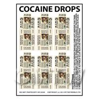 Dolls House Miniature sheet of 6 Cocaine Drops
