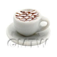 Dolls House Miniature Cappaccino With Chocolate Design