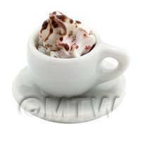 Dolls House Miniature - Dolls House Miniature Coffee With Whipped Cream And Chocolate Sauce