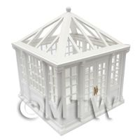 Dolls House Miniature White Painted Wood Greenhouse / Conservatory