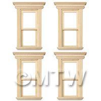 4 x Dolls House Miniature Opening Single Sash Wood Windows
