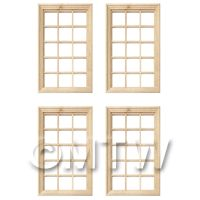 4 x Dolls House Miniature 15 Pane Georgian Windows And Glazing