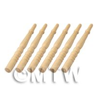 6 x Dolls House Miniature Rounded Long Wood Spindles (Style 5)