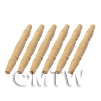 6 x Dolls House Miniature Rounded Wood Spindles (Style 7)