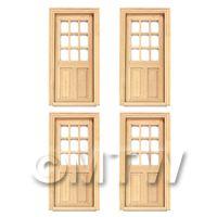 4 x Dolls House Miniature 9 Panel Glazed Wood Doors