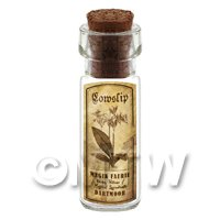 Dolls House Apothecary Cowslip Herb Short Sepia Label And Bottle