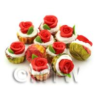 Miniature Red Fondant Rose Cupcake With Red And Yellow Paper Cup