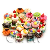 25 Miniature Mixed Design Cupcakes With Various Colour Bases
