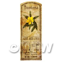Dolls House Herbalist/Apothecary Damiana Herb Long Colour Label