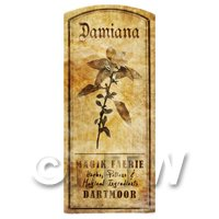 Dolls House Herbalist/Apothecary Damiana Herb Short Sepia Label