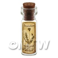 Dolls House Apothecary Dandelion Herb Short Sepia Label And Bottle