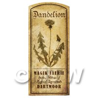 Dolls House Herbalist/Apothecary Dandelion Herb Short Sepia Label