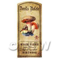 Dolls House Miniature Apothecary Devils Bolete Fungi Colour Label