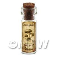 Dolls House Miniature Apothecary Devils Bolete Fungi Bottle And Label