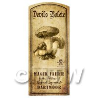 Dolls House Miniature Apothecary Devils Bolete Fungi Label