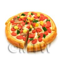 Dolls House Miniature Sliced Sausage, Mushroom And Sweetcorn Pizza