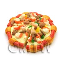Dolls House Miniature Sliced Seafood And Beef Pizza