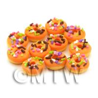 Dolls House Miniature Sprinkle Topped Zesty Orange Iced Donut