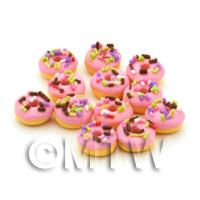 Dolls House Miniature Sprinkle Topped Raspberry Pink Iced Donut