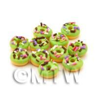 Dolls House Miniature Sprinkle Topped Lime Green Iced Donut
