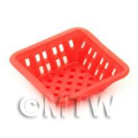 Medium Dark Red Dolls House Miniature Square Plastic Basket