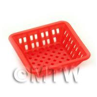 Large Dark Red Dolls House Miniature Square Plastic Basket
