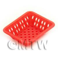 Medium Dark Red Dolls House Miniature Retangular Plastic Basket