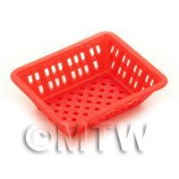 Large Dark Red Dolls House Miniature Retangular Plastic Basket