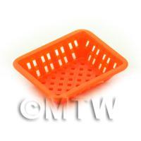 Medium Orange Dolls House Miniature Retangular Plastic Basket