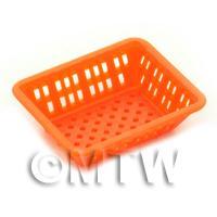 Large Orange Dolls House Miniature Retangular Plastic Basket