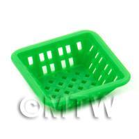 Medium Green Dolls House Miniature Square Plastic Basket