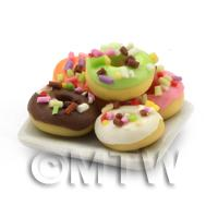 Dolls House Miniature 5 Iced Ring Donuts With Sprinkles