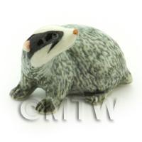 Handmade Dolls House Miniature Ceramic Badger