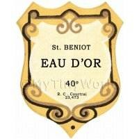 Benoit Eau Dor Miniature Dolls House Liqueur Label