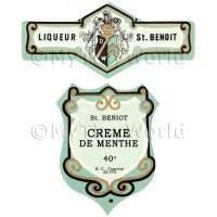 Matched Benoit Creme De Menthe Miniature Dolls House Liqueur Labels