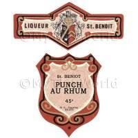 Matched Benoit Punch Au Rhum Miniature Dolls House Liqueur Labels