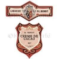 Matched Benoit Creme De Cacao Miniature Dolls House Liqueur Labels