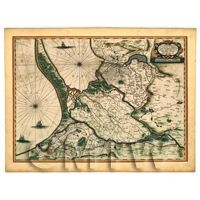 Dolls House Miniature Old Map Of Eastern Prussia From The Late 1500s