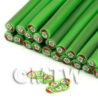 Green Outer Father Christmas Nail Art Cane (ENC40)