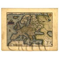 Dolls House Miniature Old Map Of Europe From The Late 1500s
